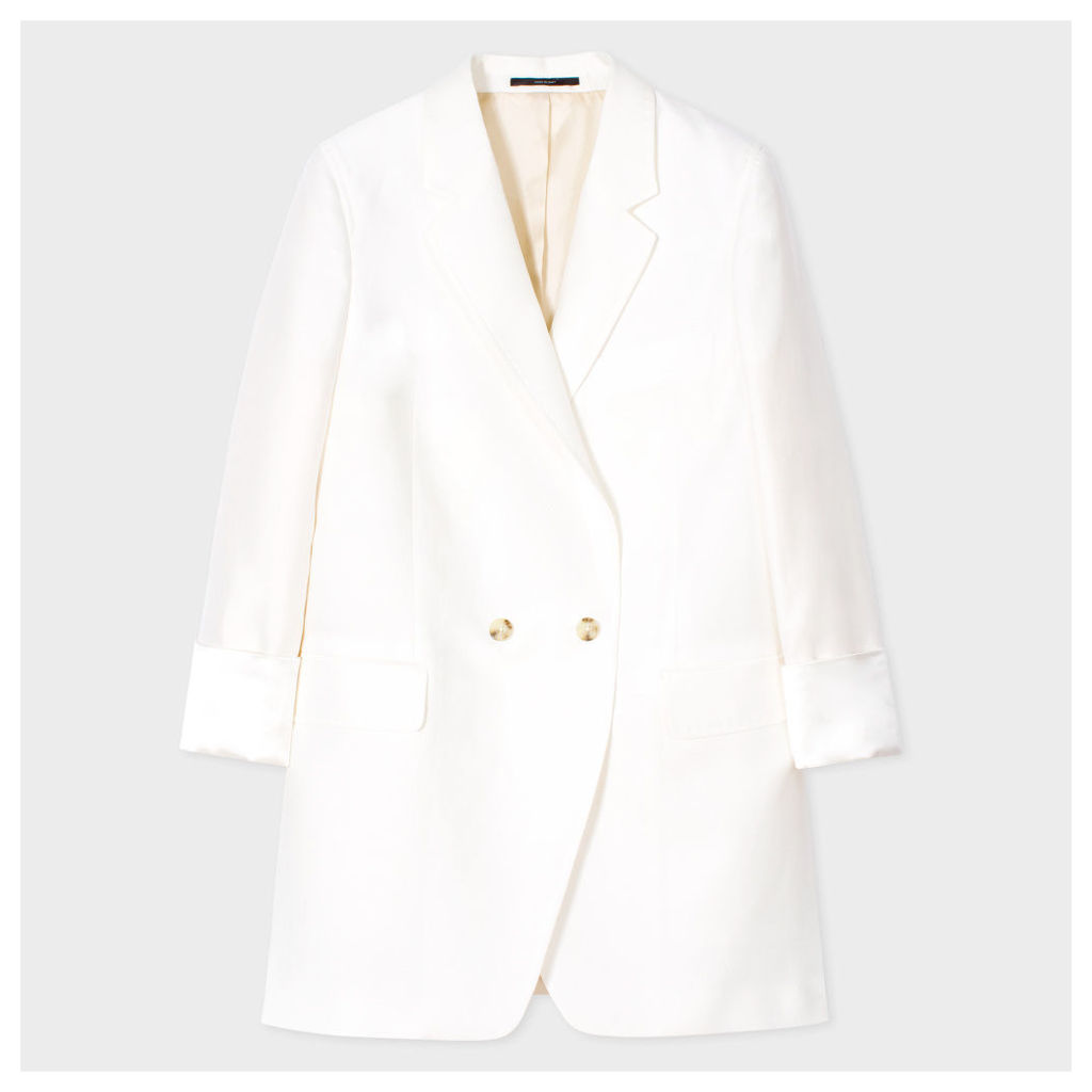 Women's Relaxed-Fit White Cotton-Silk Blazer