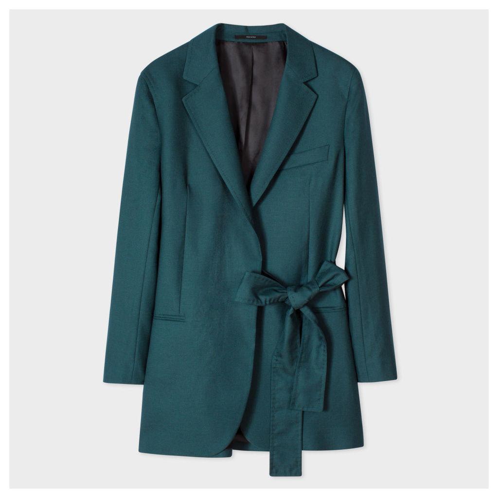 Women's Dark Green One-Button Blazer With Belt