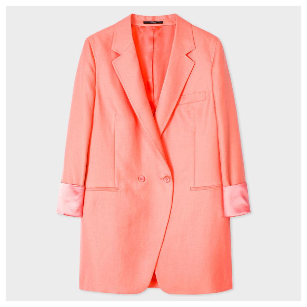 Women's Relaxed-Fit Pink Wool-Linen Blazer