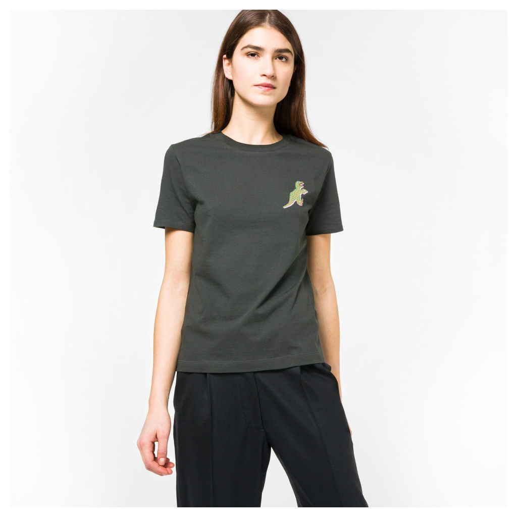 Women's Charcoal Grey Small 'Dino' Print Cotton T-Shirt