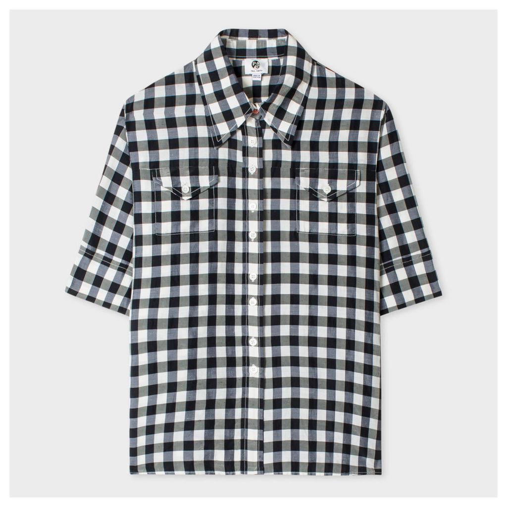 Women's Black And White Gingham Western Shirt