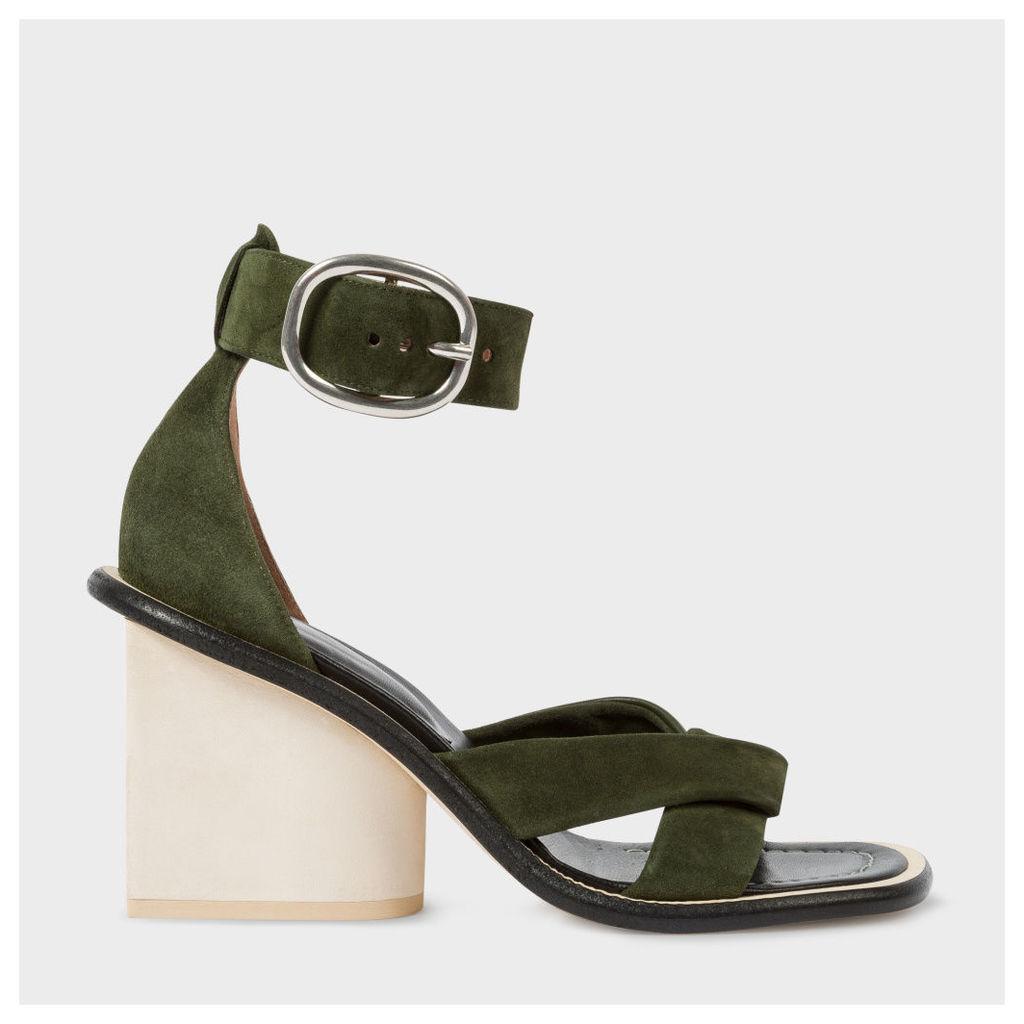 Women's Khaki Suede 'Delta' Heeled Sandals