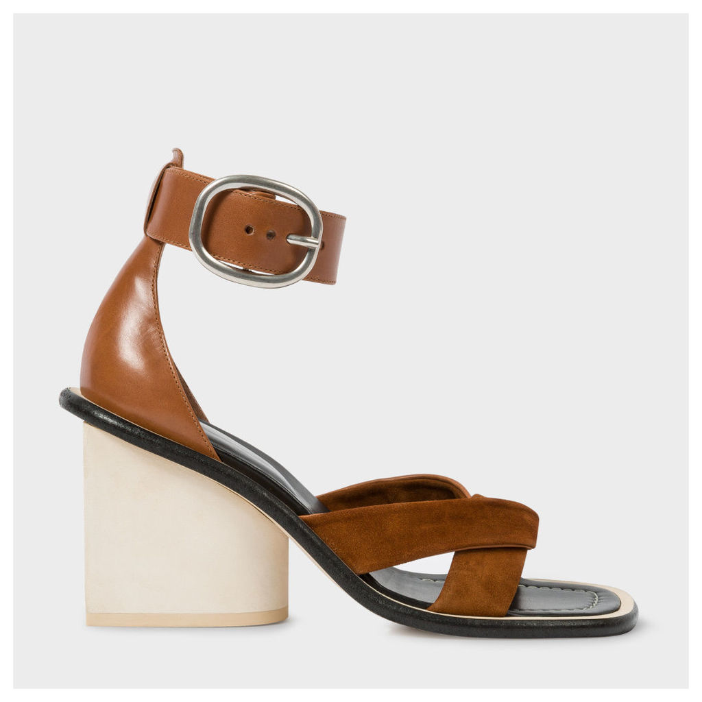 Women's Tan Suede And Leather 'Delta' Heeled Sandals