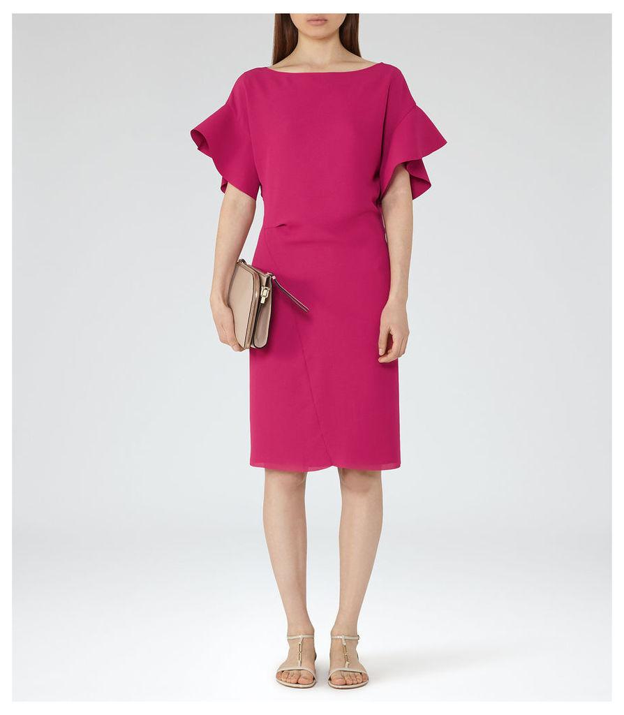 REISS Manila - Womens Peplum-sleeve Dress in Red