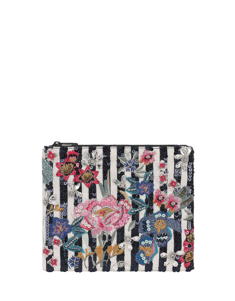 Peony Stripe Embellished Zip Top Pouch