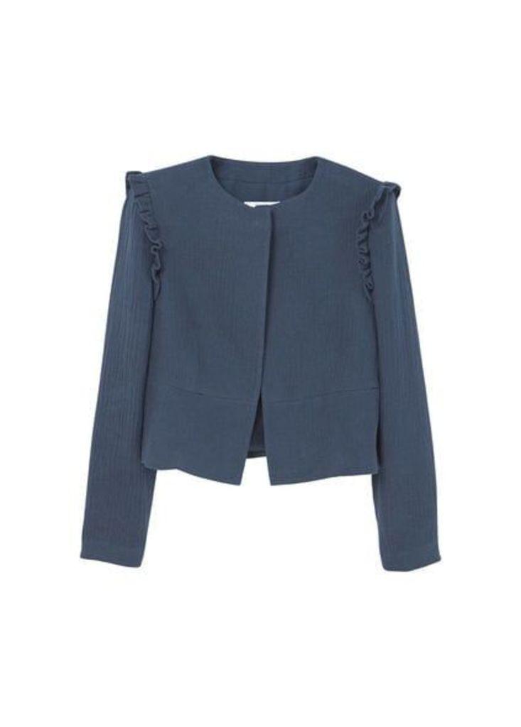 Ruffles ramie-blend jacket