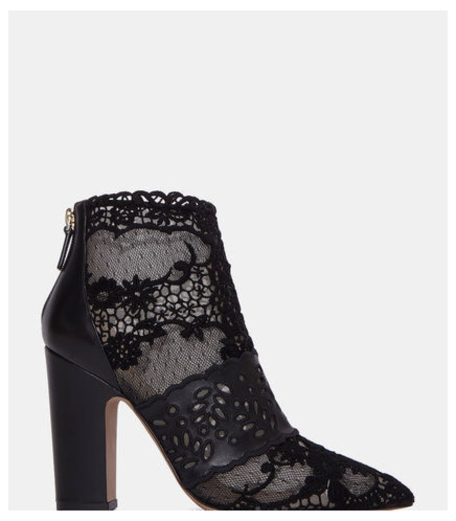 Lace Block Heeled Ankle Boots