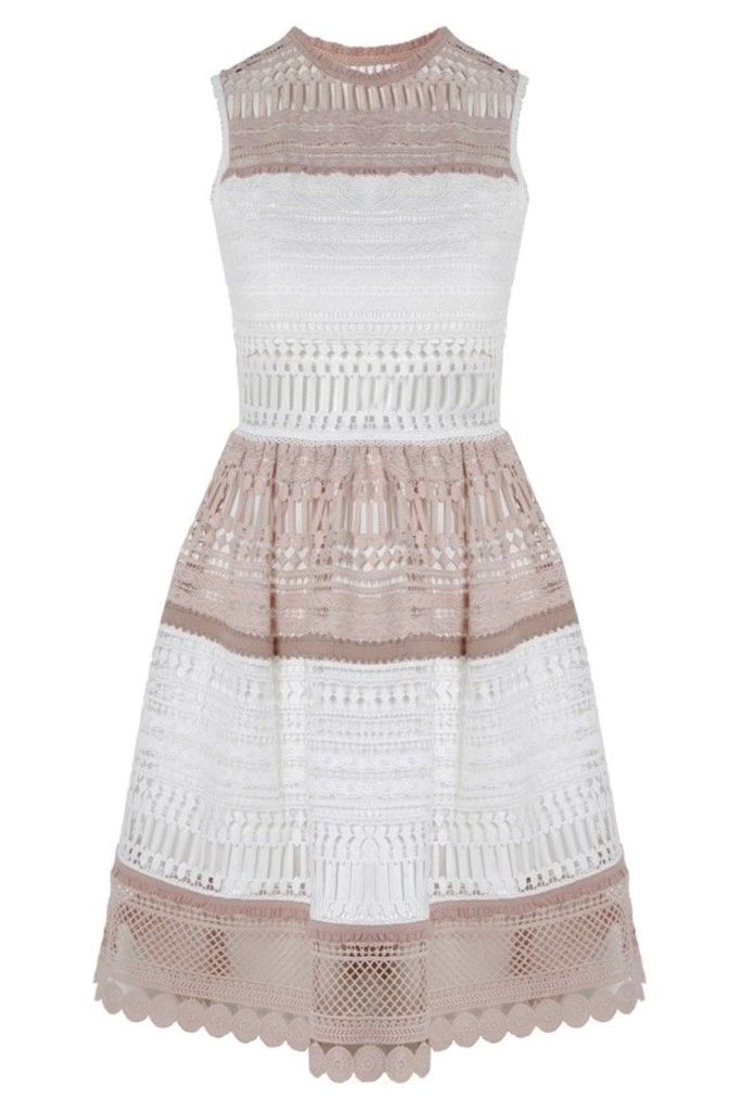 Melania Dress White Beige