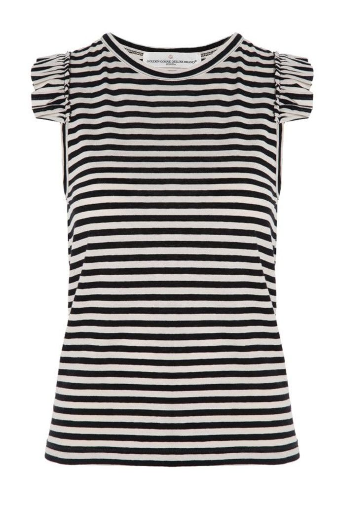 Volant Top Black and Ivory Stripes