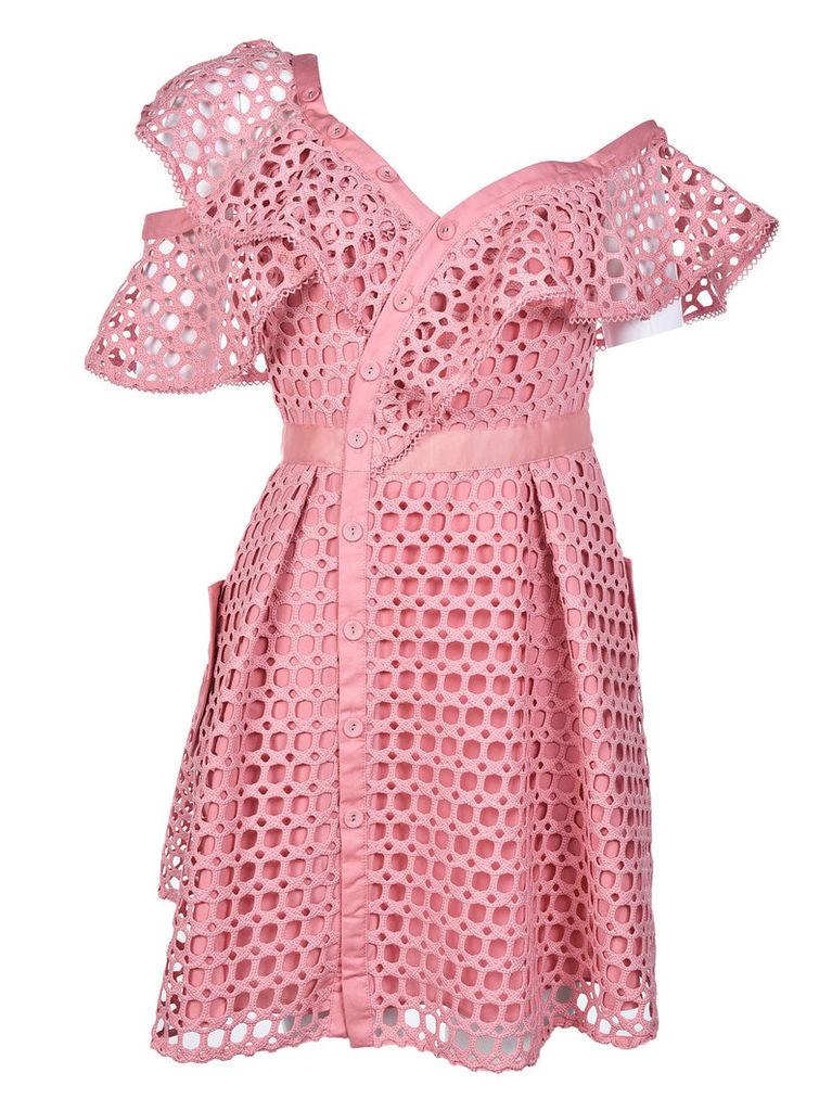 Self-Portrait Lace Frill Mini Dress