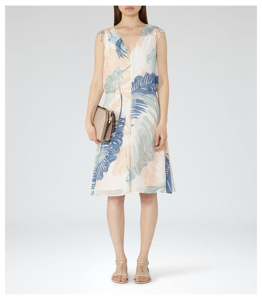 REISS Sirus - Womens Printed Midi Dress in White