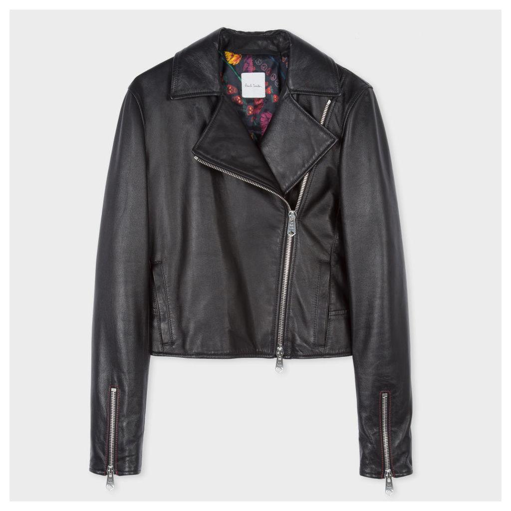 Women's Black Lamb Leather Biker Jacket