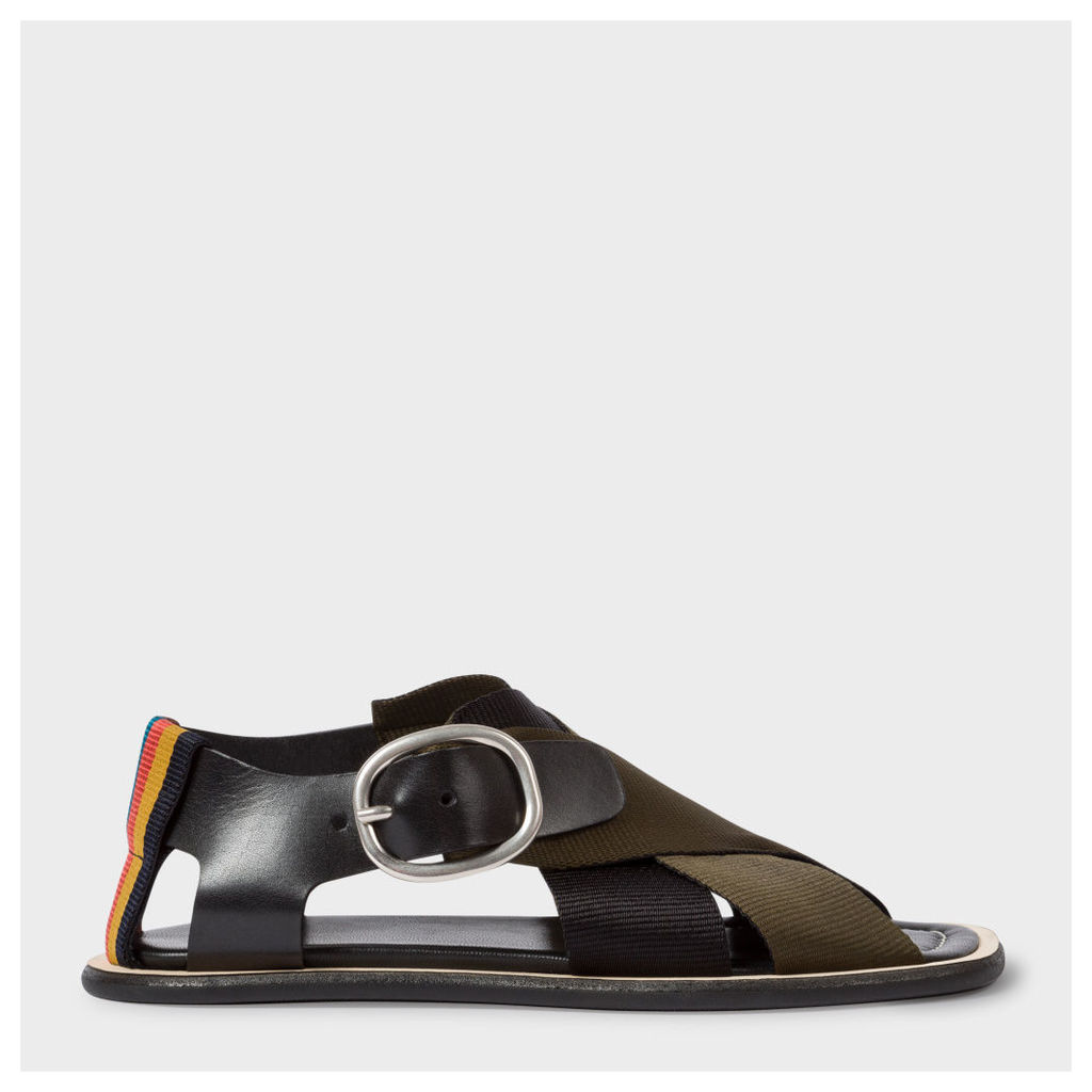 Women's Black Leather Sandals With Black And Khaki Webbing