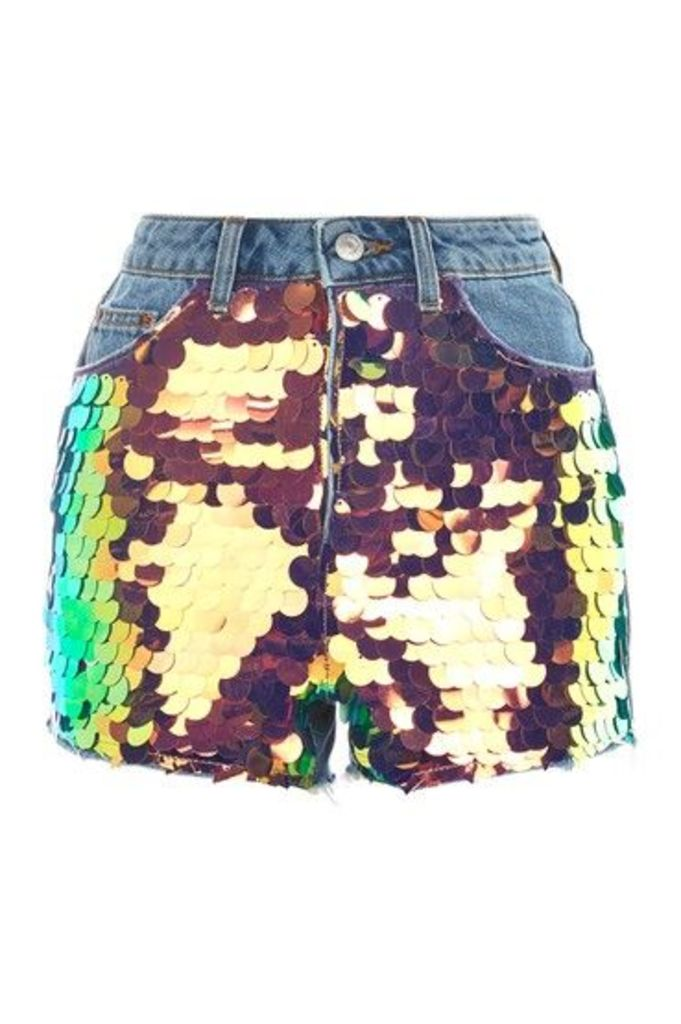 Womens MOTO Sequin Mom Denim Shorts - Mid Stone, Mid Stone
