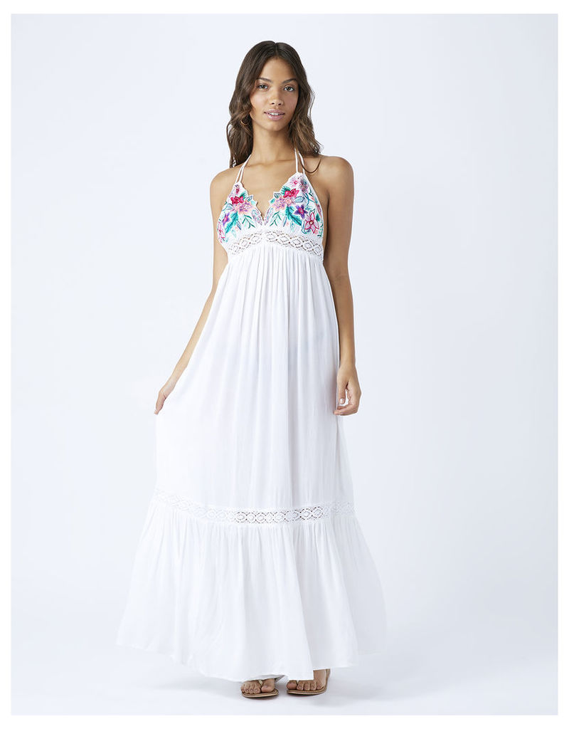 Orchid Flower Triangle Maxi Dress