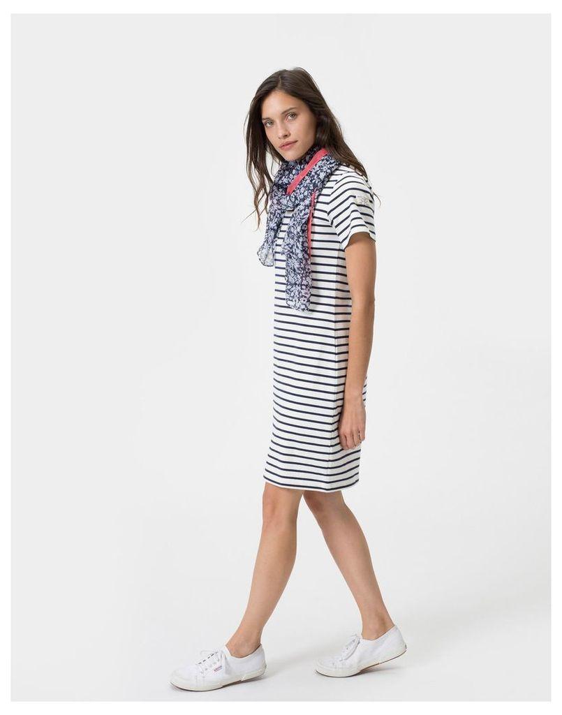 Creme Stripe Riviera Jersey T-Shirt Dress  Size 16 | Joules UK