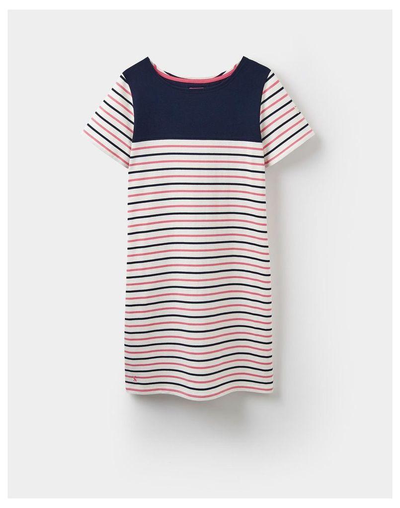 Hope Stripe Soft Coral 124182 Womens Jersey T-Shirt Dress  Size 10 | Joules UK