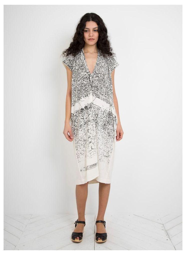 Silk Printed Simple Dress Black Print