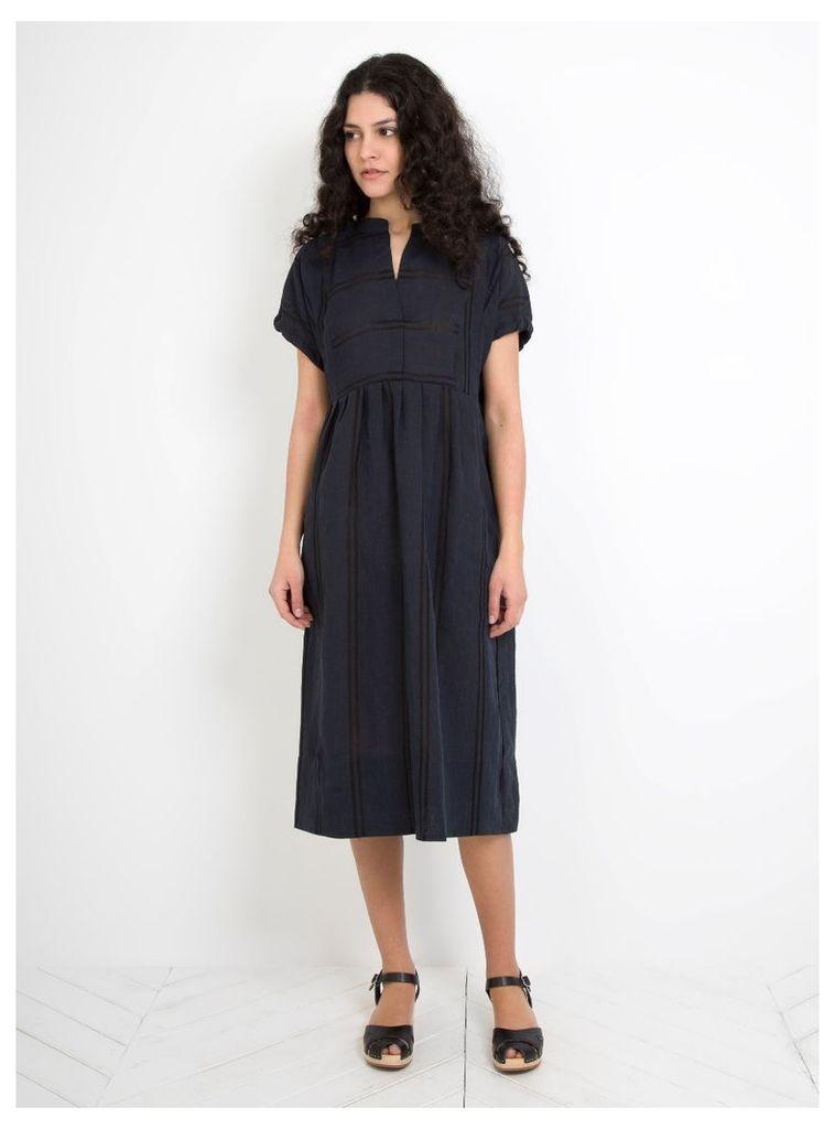 Agnes Dress Navy Shadow Stripe