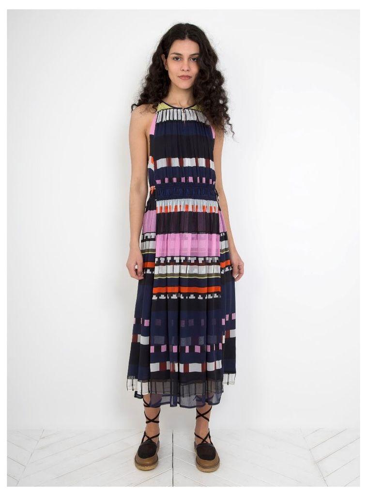 Silk Crinkle Lippard Dress Navy Abstract Stripe