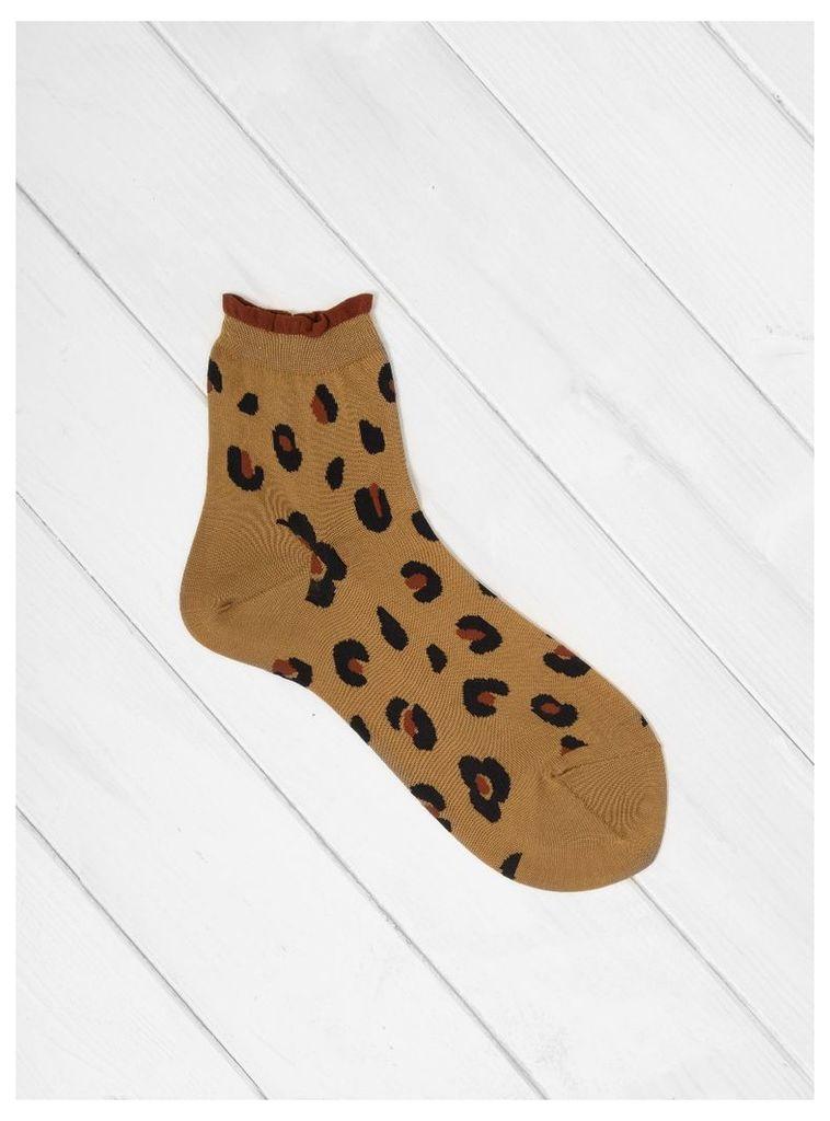 Cheetah Short Crew Sock Caramel