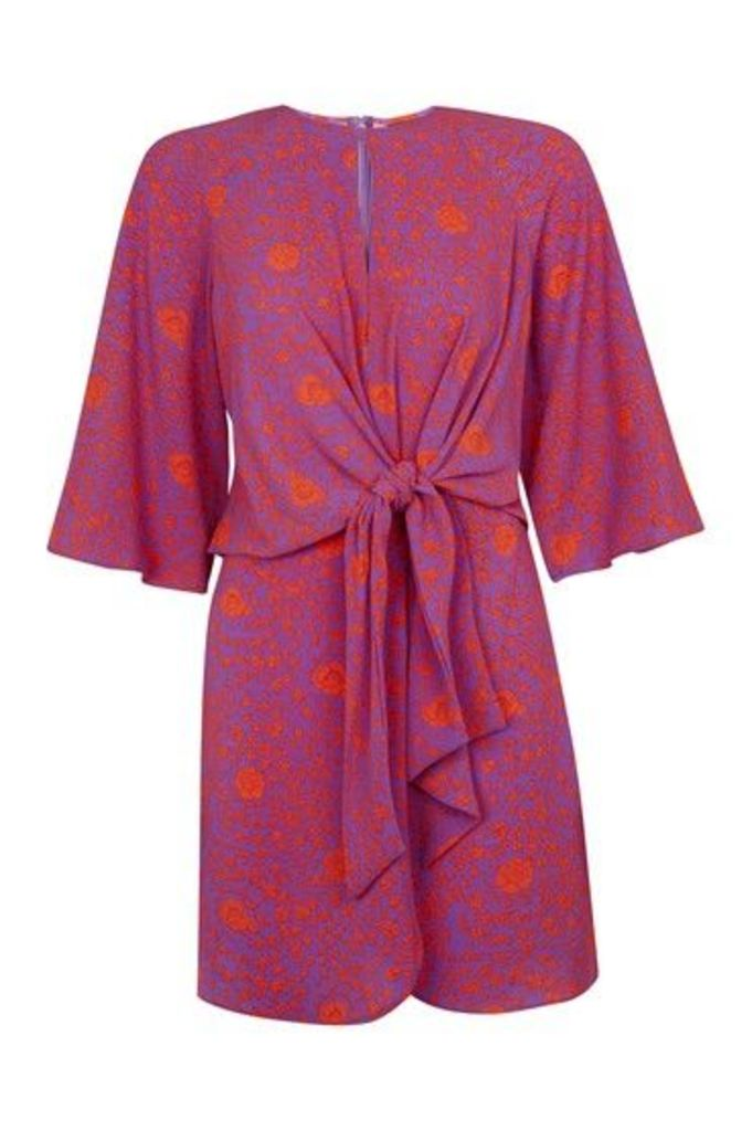 Womens Rose Print Knot Front Dress - Purple, Purple