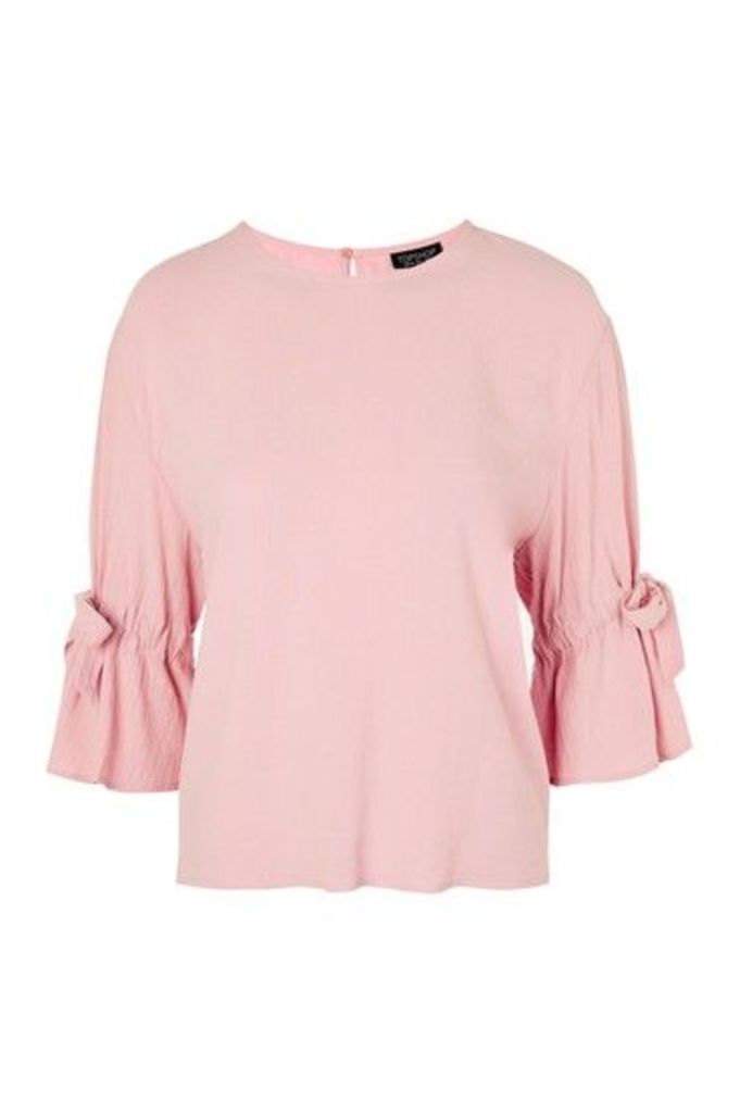 Womens Tie Sleeve Casual T-Shirt - Pink, Pink
