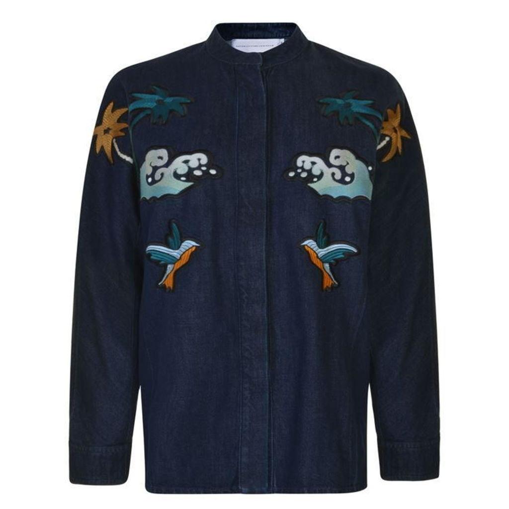 VICTORIA BY VICTORIA BECKHAM Embroidered Denim Jacket