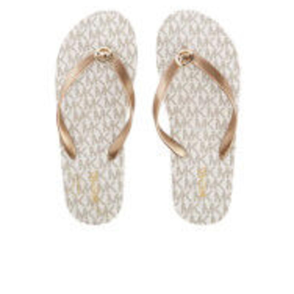MICHAEL MICHAEL KORS Women's MK Flip Flops - Vanilla - US 10/UK 7