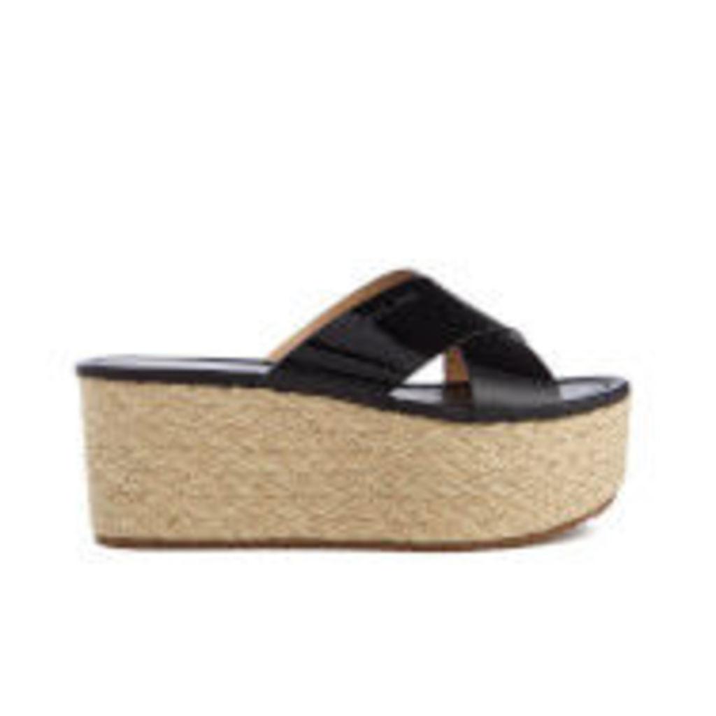 MICHAEL MICHAEL KORS Women's Vivianna Slide Wedged Sandals - Black Patent - US 10/UK 8