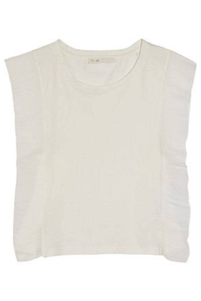 Maje - Plissé Chiffon-paneled Cotton-jersey Top - Ecru