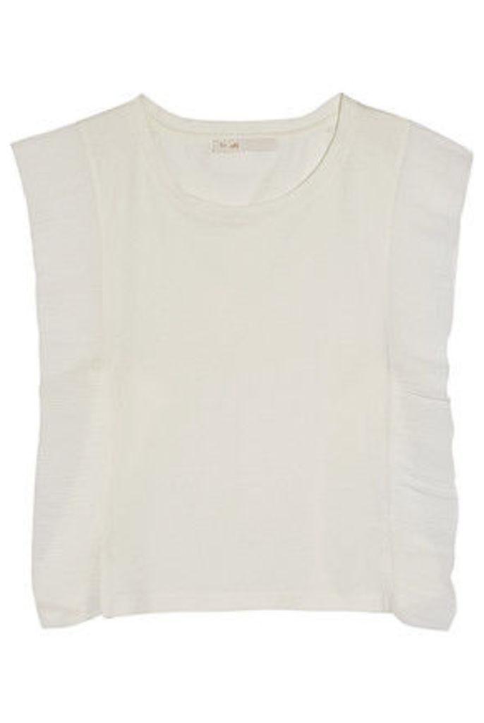 Maje - Plissé Chiffon-paneled Cotton-jersey Top - Ecru