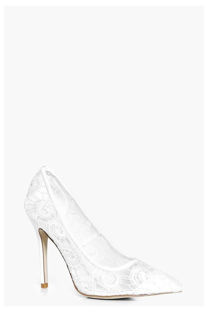 Bridal Lace Pointed Court - white