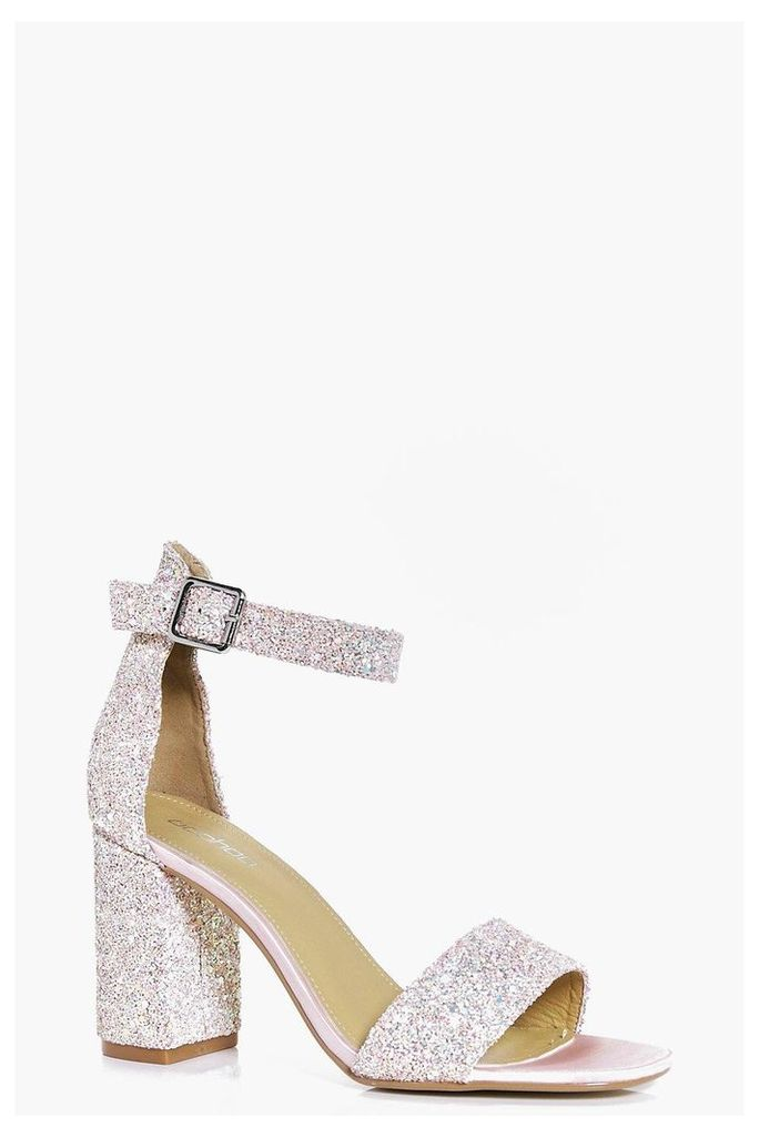 Bridal Glitter Block Heel Two Part - pink