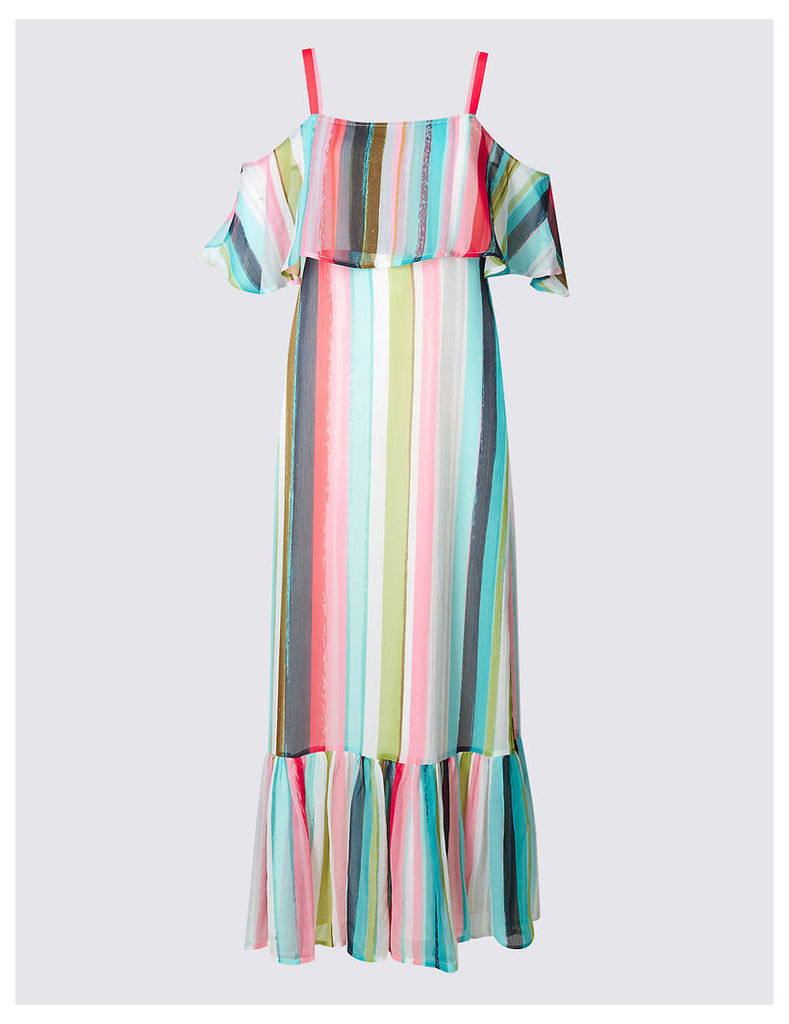 M&S Collection Striped Frill Cold Shoulder Shift Maxi Dress