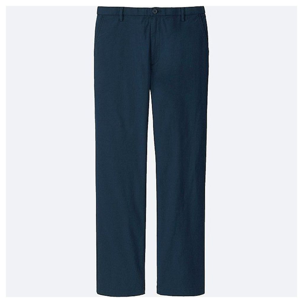 Uniqlo  Men Linen Relaxed Trousers - Navy - Xl