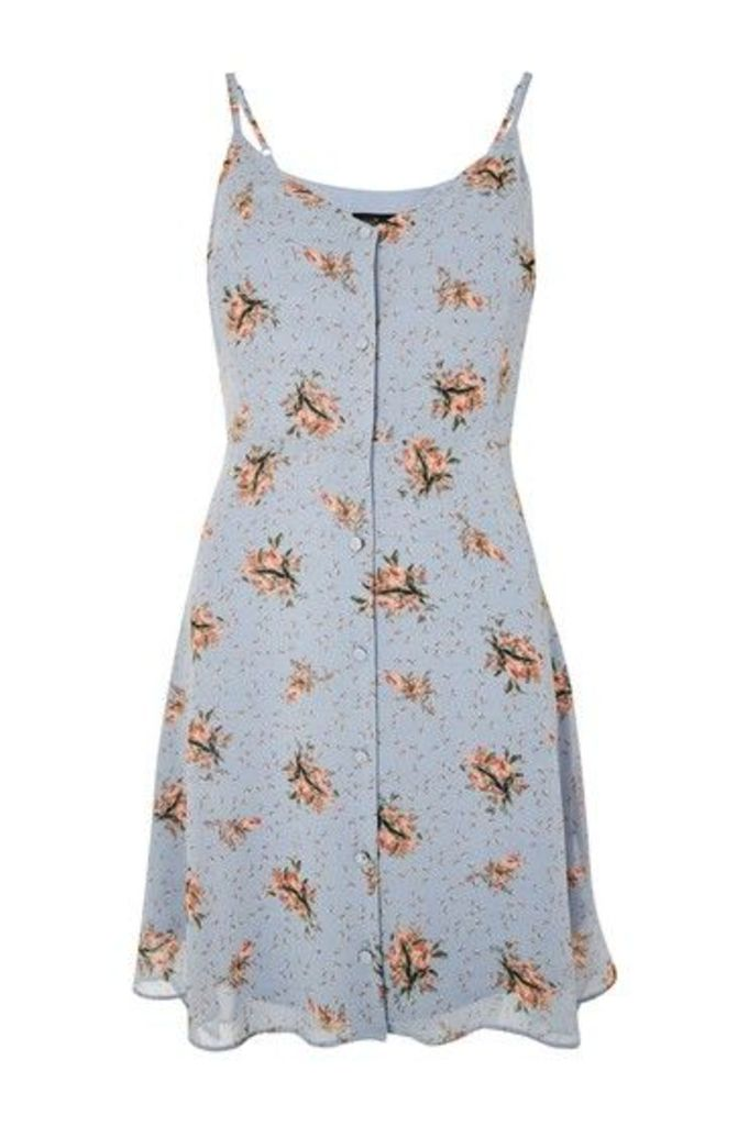 Womens TALL Ditsy Print Mini Slip Dress - Light Blue, Light Blue