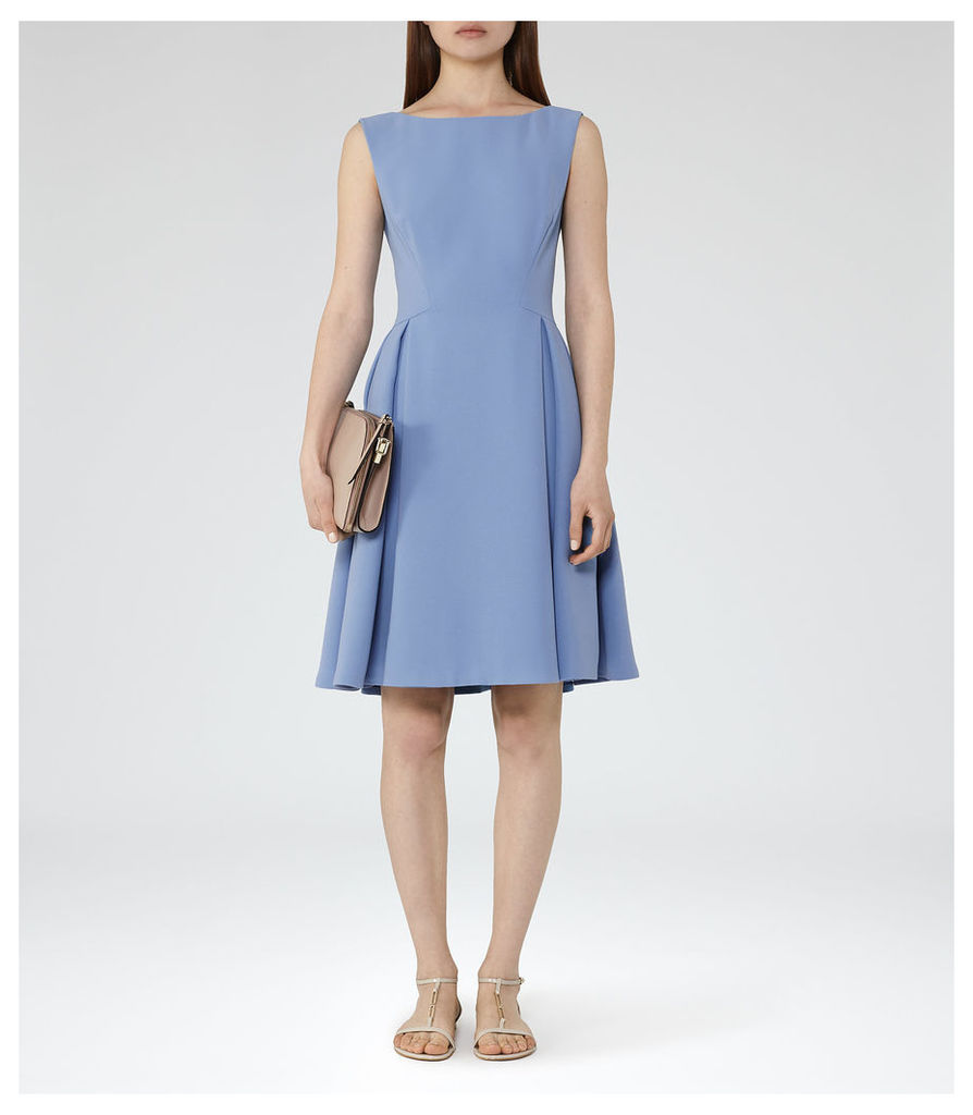 REISS Eri - Womens Low-back Fit And Flare Dress in Blue