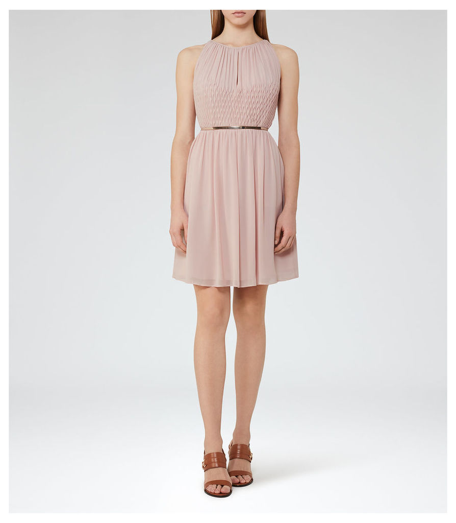 REISS Charlotte - Womens Smocking-detail Dress in Pink