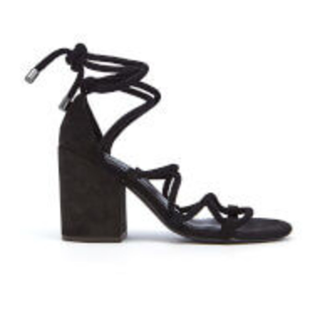 Senso Women's Wyatt Suede Lace Up Blocked Heeled Sandals - Ebony