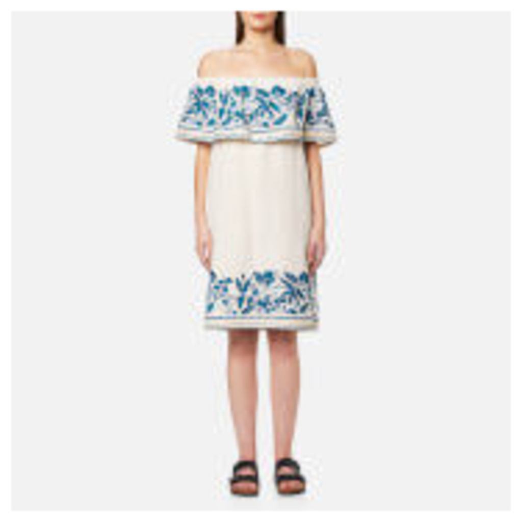 Maison Scotch Women's Boho Off the Shoulder Dress with Embroidery - White