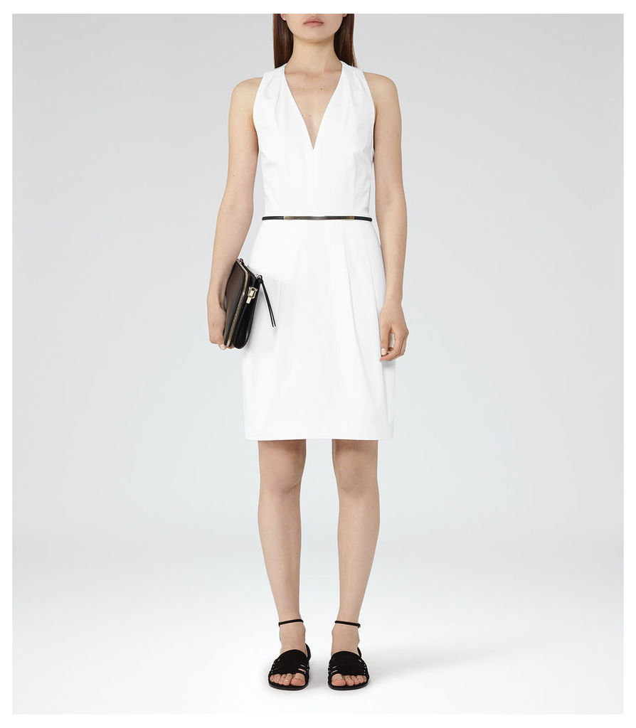 REISS Rakele - Womens V-neck Fit And Flare Dress in White