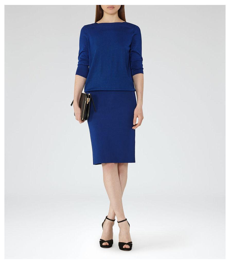 REISS Ren - Womens Knitted Cross-back Dress in Blue