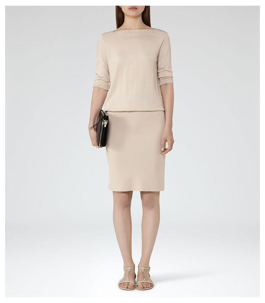 REISS Ren - Womens Knitted Cross-back Dress in Cream