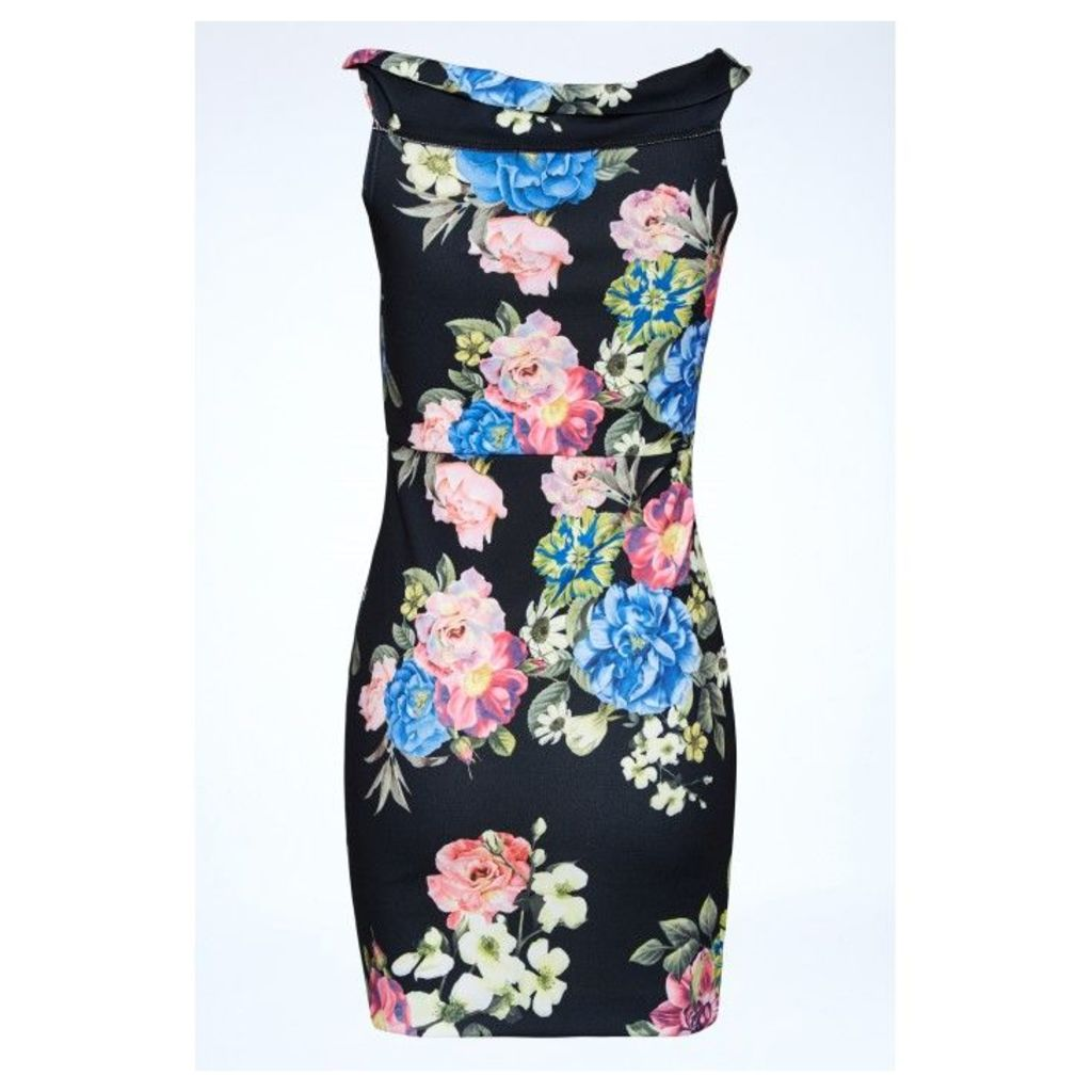 ROUCHED FRONT FLORAL BODYCON