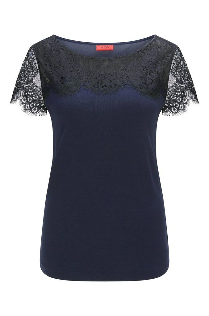 Relaxed-fit T-shirt with delicate lace detail