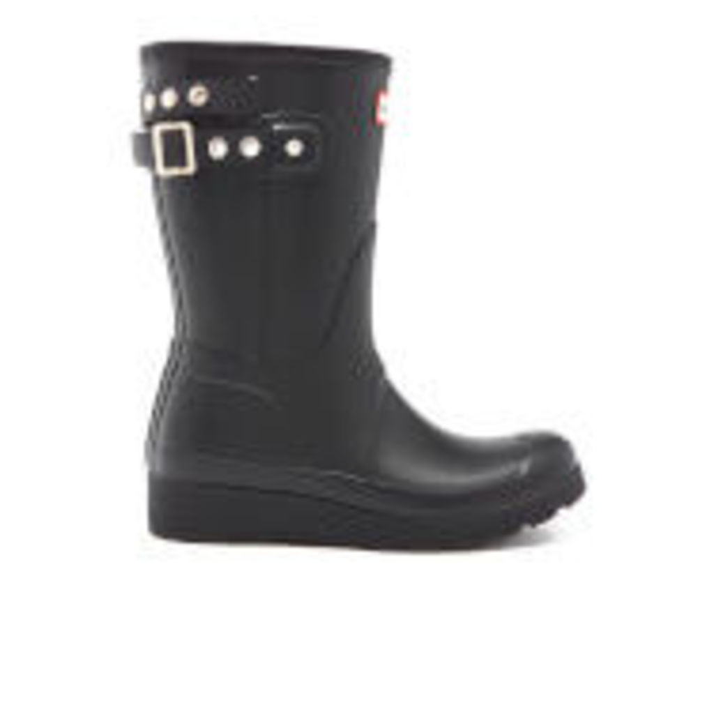 Hunter Women's Original Short Wedge Back Strapstuds Boots - Black