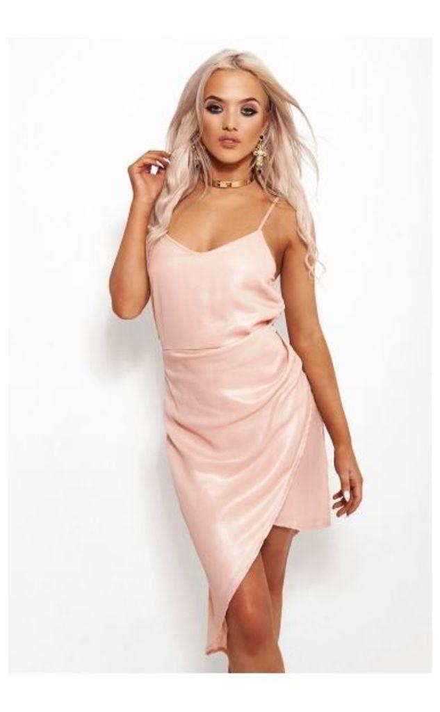 Nude Pink Shimmer Asymmetrical Midi Dress