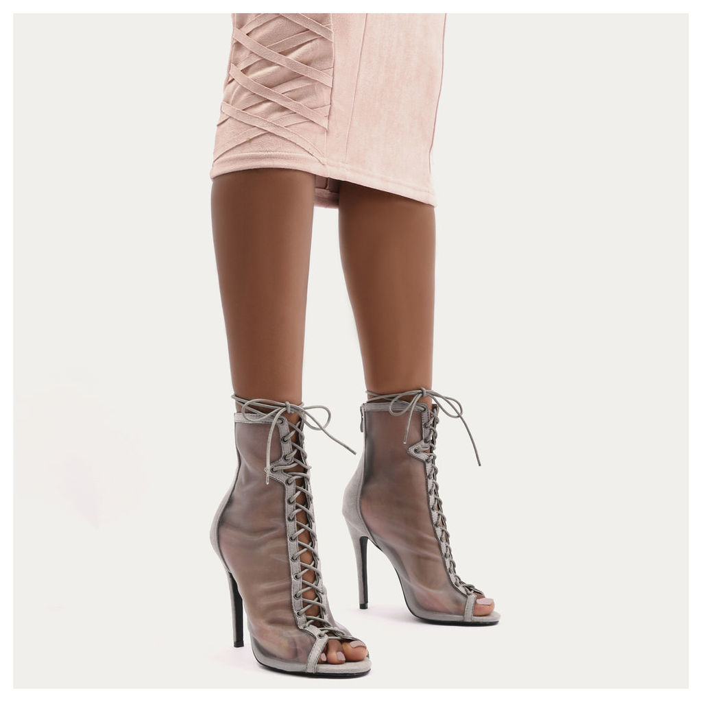 Miami Lace Up Mesh Ankle Boots, Grey