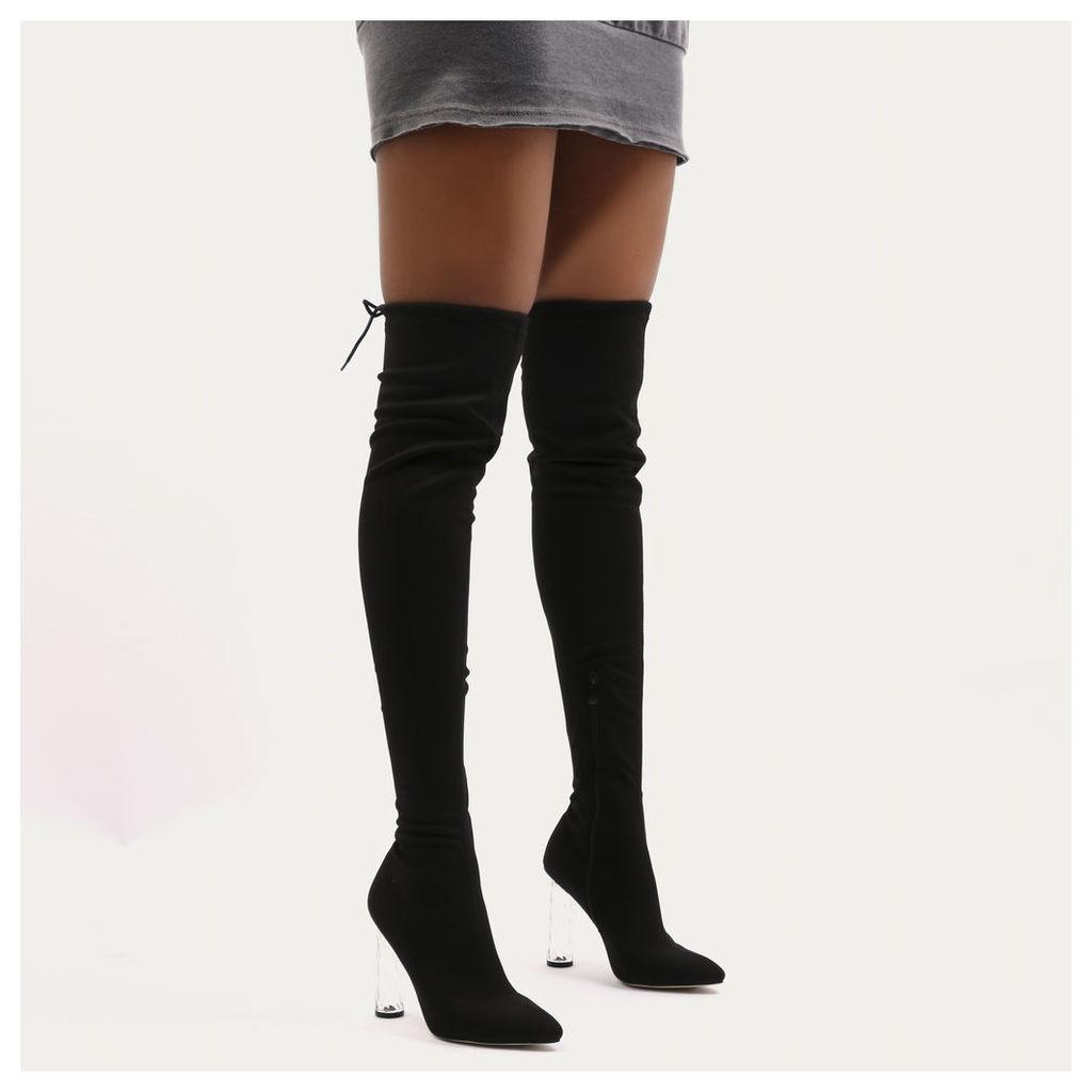 Tokyo Perspex Twist Heel Long Boots  Sock Fit, Black